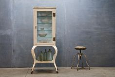 Vintage medical cabinet and stool - Have been looking for one for years without broken glass. Still looking.