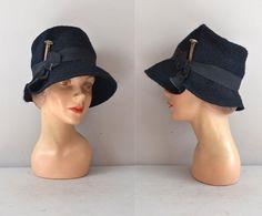 1960s hat / 60s cloche hat / Railway Dame hat by DearGolden, $58.00