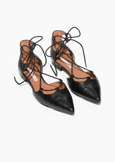 & Other Stories image 2 of Lace-Up D'Orsay Flats in Black Leather