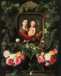 """ Daniel Seghers & Cornelis Schut, 'The Virgin and Child with the Infant Saint John' Cornelis Schut May Antwerp – 29 April was a Flemish Baroque painter, draughtsman and. Floral Garland, Flower Garlands, Jesus Pictures, Madonna And Child, Blessed Virgin Mary, Children Images, Blessed Mother, My Favorite Image, Dark Backgrounds"