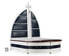 Like a sailboat. Bed Headboard Design, Headboards For Beds, Bed Design, Bed Furniture, Furniture Design, Indoor Playroom, Modern Kids Bedroom, Simple Bed, Kid Spaces
