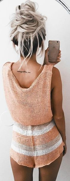 #summer #girly #outfits |  Lovely Knit Romper Jumpsuits, Playsuits, Cute Hairstyles, Messy Bun, Ropa Sexy, Summertime, Fashion Moda, Locks, Hair Inspiration
