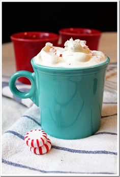 (Spiked) Peppermint Hot Chocolate - made with dark chocolate