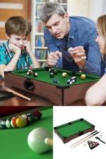 Kids Billiard Tabletop Table Set Mini Pool Game Room Family Fun Complete Green