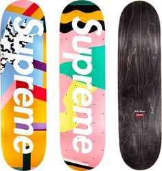 Part of the apparel-and-skate-deck collection designed by Alessandro Mendini Supreme Skateboard Deck, Skateboard Deck Art, Skateboard Design, Painted Skateboard, Skateboard Wheels, Custom Skateboards, Cool Skateboards, Memphis Design, Longboard Design