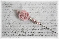 Pink Rose and Pearls Decorative Stick Pin for by LittleScrapShop, $6.50