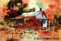 "Daily Painters Of Utah: ""Outback Shack - Version - Watercolor - Russell Black Watercolor Artists, Watercolor Paintings, Watercolors, Daily Painters, Photo And Video, Sheds, Barns, Utah, Buildings"