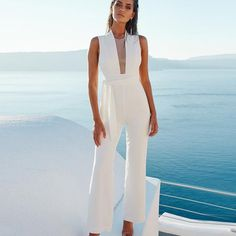 e09fa8c4e961 BEFORW 2018 Women Sexy Sleeveless V Neck Lace Up Wide Leg Long Jumpsuit  Overalls Body suit White Causal Rompers macacao feminino