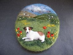 Handmade-needle-felted-brooch-Gift-Scruff-in-the-Poppies-by-Tracey-Dunn