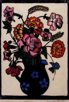 , Flowers in a Jug Woodblock print, Margaret Preston , Flowers in a Jug Woodblock print, Margaret Preston. Margaret Preston, Margaret Rose, Australian Wildflowers, Australian Flowers, Australian Painters, Australian Artists, Aboriginal Artists, Flower Oil, Pin Up Art
