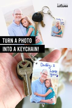 Learn how to turn a favorite photo into a DIY photo keychain using printable Shrinky Dink film! Kids can write notes or decorate the photos before baking for an adorable Mother's Day gift or Father's Day gift Photo Craft, Diy Photo, Crafts To Make, Crafts For Kids, Write Notes, Fathers Day Crafts, Craft Activities For Kids, Reusable Bags, Diy Gifts