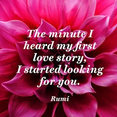 The minute I heard my first love story/ I started looking for you. — Rumi