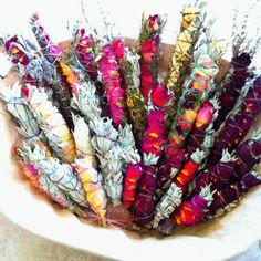 Ceremonial sage and rose smudge bundles from sagegoddess.com