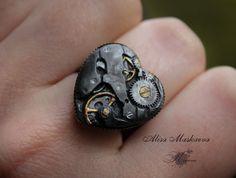 Steampunk heart ring from polymer clay by Krinna.deviantart.com on @deviantART