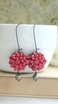 Romantic Dusty Red Rose Flower, Matte Olive Green Pearl Dangle Drop Earrings…