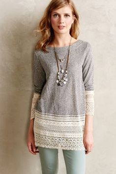Sunday in Brooklyn Recessed Lace Sweatshirt #anthrofave