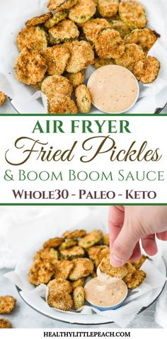 Crispy and savory air fried pickles dipped in my creamy Boom Boom Fry Sauce. This recipe is Keto and Paleo along with being dairy and gluten free. dinner air fryer Air Fryer Fried Pickles & Boom Boom Fry Sauce - Healthy Little Peach Air Fryer Dinner Recipes, Air Fryer Oven Recipes, Air Fry Recipes, Paleo Recipes, Air Fryer Recipes Gluten Free, Protein Recipes, Potato Recipes, Air Fryer Recipes Pickles, Easy Recipes