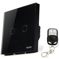 Smart Home FUNRY dotykový Diaľkový spínač 2 Gang 1 Way Diaľkové ovládanie dotykovej On-off spínač svetiel, Touch Scree Wall Prepínač norma EÚ