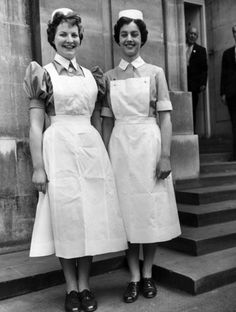 1950's- student nurses. We were wearing similar uniforms in 1971!