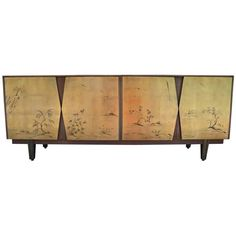 Fabulous Two-Tone Gold Leaf Sideboard with Asian Motifs | 1stdibs.com