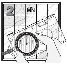 """2. Set the compass heading by turning the compass Dial until the """"N"""" on your compass aligns with Magnetic North on the map."""