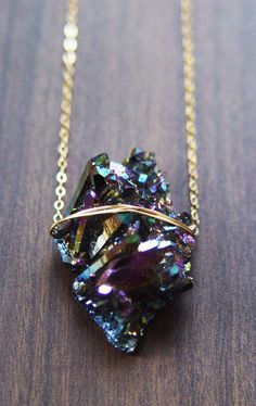 Titanium Druzy Necklace One of a Kind by friedasophie on Etsy, $69.00