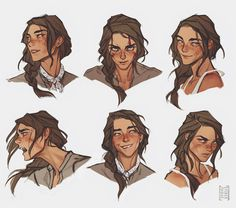 """Expressions sheet for Tanya. Character Drawing, Character Illustration, Character Concept, Concept Art, Pretty Art, Cute Art, Hawke Dragon Age, Expression Sheet, Pelo Anime"