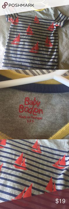 Baby Boden Tee Washed once, never worn. Snaps along one shoulder. Tag says 2/3. Mini Boden. Stripes and sailboats. Mini Boden Shirts & Tops Tees - Short Sleeve