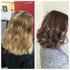 Before & After redken chromatics blonde to brunette transformation by @amy_ziegler #askforamy#versatilestrands