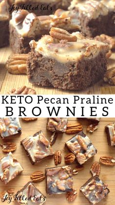 Keto Pecan Praline Brownies = The Best Brownie Ever. Low Carb Grain-Free Gluten-Free Sugar-Free THM S. Rich full of chocolate covered with pecans and creamy praline. Low Carb Sweets, Low Carb Desserts, Low Carb Recipes, Dessert Recipes, Breakfast Recipes, Lunch Recipes, Diet Recipes, Keto Cookies, Brownies Cétoniques