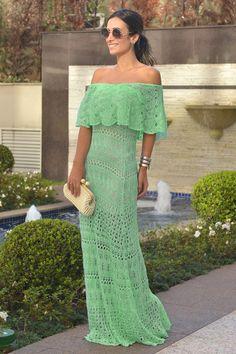 Vestido Trico Longo Ombro A Ombro Verde Tiffany   Galeria Tricot - Galeria Tricot
