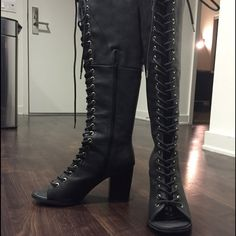 Lace up open toe boots With a little heel! Only worn once Shoes Heeled Boots