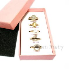 $6.99 5Pcs/set Flower Pearl Rings Set Rhinestone Decor Open Rings Tail Ring - BornPrettyStore.com