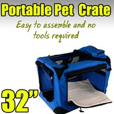 New Large Dog Pet Puppy Portable Foldable Soft Crate Playpen Kennel House - Blue * Hurry! Check out this great product : Dog kennels
