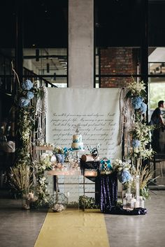 Pretty blue under the sea decoration backdrop disney themed wedding // Victor and Sue Ann take us under the sea with their 'The Little Mermaid'-inspired Malaysia wedding at Collective KL, shot by Arch & Vow Studio and styled by Syarina Sheen Flowers and I Heart Party. We loved seeing King Triton's castle on the couple's DIY storybook wedding invites along with the little mermaid tails that peppered the blue and white dessert table.