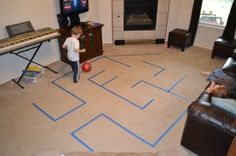 Teach ball control with a painters-tape maze (can also be done outside). It turns learning to dribble into a game. by brianna