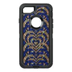 #gold - #Blue & Gold Glitter Spiral Vortex Hearts - OtterBox Defender iPhone 7 Case