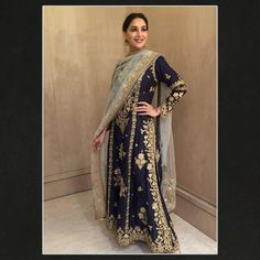 "Rimple & Harpreet Narula on Instagram: ""Madhuri Dixit Nene ( @madhuridixitnene ) in a midnight blue handloom chanderi kalidar for an event #rah #rahtribe #rimpleandharpreet"""