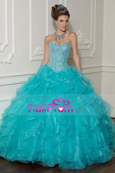 Prom Dresses Ball Gown Sweetheart Organza Floor Length Quinceanera Dresses