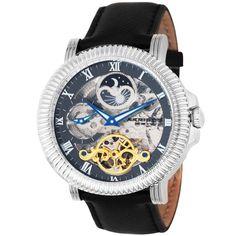 Akribos XXIV Men's Dual Time Round Watch In Black - Beyond the Rack