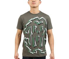 e0288a3ef0 Roberto Cavalli Military Green Graffiti Logo Crewneck T-Shirt