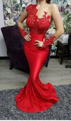 custom drsses red evening dresses long sleeve lace appliqué beaded mermaid modest elegant evening gown formal dresses from customdresskoko Prom Dresses For Sale, Mermaid Prom Dresses, Modest Dresses, Dress Sale, Long Dresses, Maxi Dresses, Long Sleeve Evening Dresses, Formal Evening Dresses, Evening Gowns