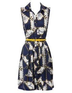 4aad1111b03 Hi There From Karen Walker - Nautical Chain Print Shirtmaker Dress