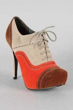 Oxford Bootie in Orange, Tan, and Brown - $31.40