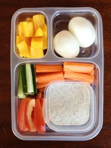 Mango; Hard-Boiled Eggs; Cucumber Sticks; Carrot Sticks; Tomatoes; Paleo Ranch Dressing