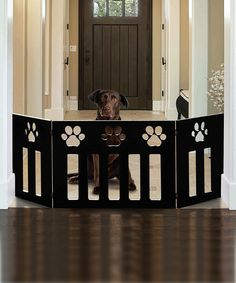 Wooden Paw Three-Panel Pet Gate