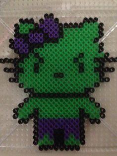 Hello Kitty Hulk perler beads by Jenny Long