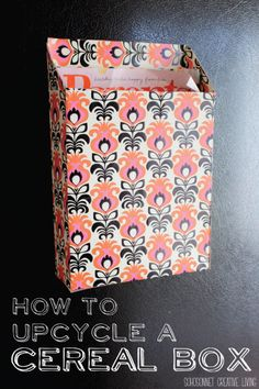Cereal Box Upcycled into a Magnetic Paper Bin - SohoSonnet Creative Living (DIY - Organization) Diy And Crafts, Crafts For Kids, Paper Crafts, Arts And Crafts, Upcycled Crafts, Diy Paper, Diy Projects To Try, Craft Projects, Grocery Bag Storage