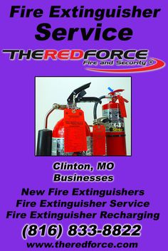 Fire Extinguisher Service Clinton, MO (816) 833-8822 Local Missouri Businesses Discover the Complete Fire Protection Source.  We're The Red Force Fire and Security.. Call us today!