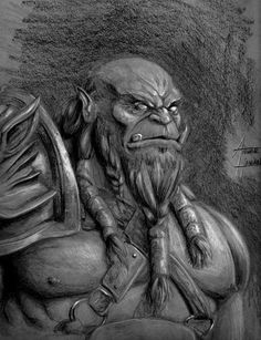 Orc Warrior, Fantasy, RoninAnwar's Art, Fantasy Portrait, Pencil on gray paper with white pencil
